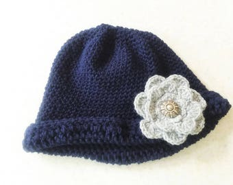 Crochet Cloche Style Hat with Rolled Brim and Accent Flower