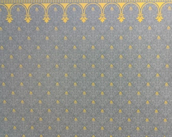 "Dollhouse Miniature Brodnax Victorian Wallpaper Blue & Gold ""Flambeau"" 1:12 Scale"