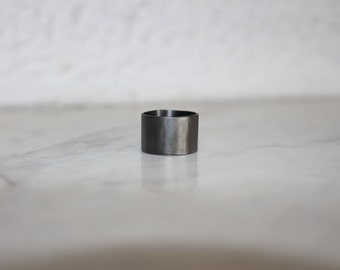 Wide ring, Big sterling silver ring, hammered ring, statement ring, sand inspired ring, minimalistic ring, black platinum plated
