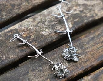 Long Silver Flower Earrings, Silver Flower Earrings, Flower Earrings, Sterling Silver Earrings, Silver Dangle Earrings, Nature Earrings