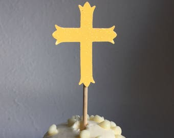 120 Yellow Cross Cupcake Toppers Cake Decorations Wedding First Holy Communion Baptism Confirmation