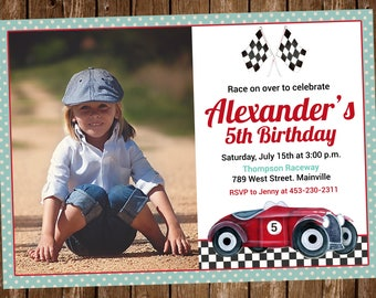 Vintage Race Car Invitation, Race Car, Car, Birthday Party, Invitation - Digital or Printed