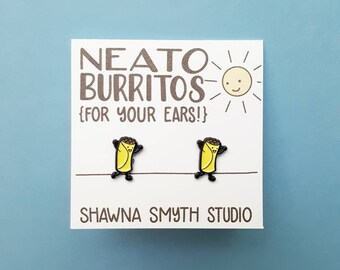 Neato Burrito Enamel Post Earrings