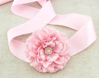 Peony Flower Girl Sash/ Bridesmaids Sash /Communion Sash