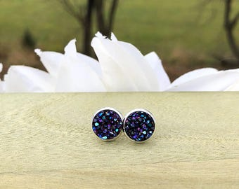 Blackberry Druzy Stud Earrings