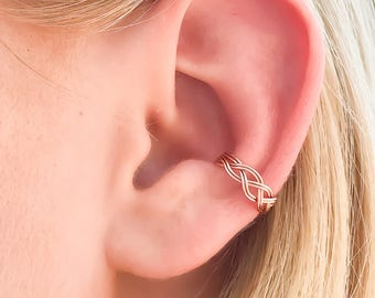 Braided Ear Cuff, Rose Gold Non Pierce Ear Cuff