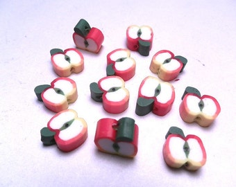 20 Fimo Polymer Clay Fimo Fruit Beads 10mm Apple