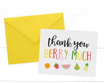 Tutti Fruitti Thank You Cards - Twotti Fruity Thank You Cards - Tutti Frutti Note Card - Tutti Frutti Birthday Party -  Fruit Cards
