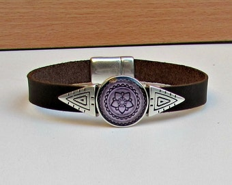 Geometric Mens Leather Bracelet Cuff Triangle Bracelet Purple Bracelet Customized On Your Wrist G2
