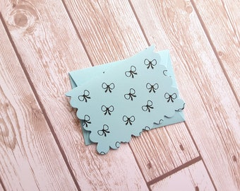 """2.5"""" x 3.5"""" Mini Blue Bow Ties Cards with Envelope / Pastel Blue Bow Tie / Mini Thank You Cards / small Note Cards  / Set of 4"""