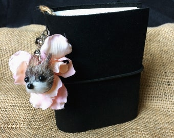 """3""""x4"""" Black Embellished Leather Journal"""