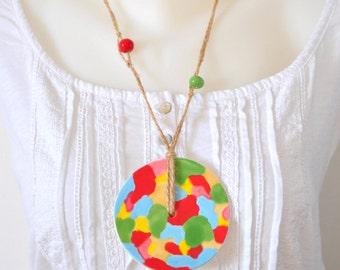 Ceramic long necklace
