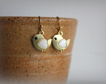 Tiny Bird Earrings, Gold, Swallow, Dangle, Gift for Her, by ktnunna