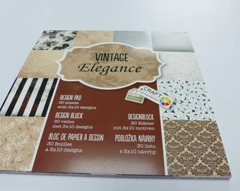 block printed paper with 30 sheets of vintage elegance scrapbooking 15 cm square