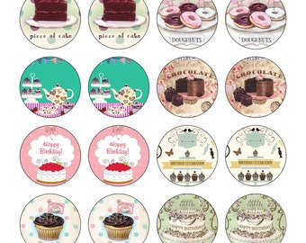24 Precut 40mm Circle Happy Birthday Afternoon Tea Edible Wafer Paper Cake Cupcake Toppers