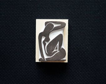 Matisse - Nude - Hand-Carved Rubber Stamp - Woman