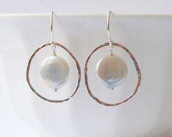 Coin Pearl Sterling Silver Earrings,  Pearl Earrings, Pearl Jewelry