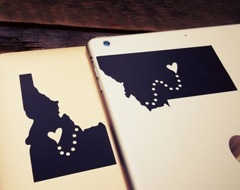 Pick Your State Decal Personalized State Keychain Sticker Set Any 2 State Countries long distance relationship gift LDR gift girlfriend gift