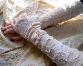 Gloves,arm warmers, steampunk, mori girl, tatterded gloves, victorian, romance, bridal,strech, size small-medium, white ,cream ,tatter punk