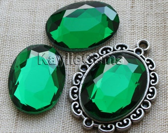 Oval 18x25 Mirror Glass Cabochon Cab Faceted Table Cut - Emerald- 2pcs