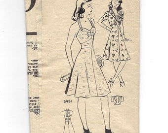 1940s Mail Order #3481, Misses' Halter Dress and Bolero Jacket Pattern, The American Weekly, Size 12 Bust 30