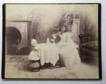 Amazing Cabinet Photo IdentifiedGirl having Tea Party with her doll