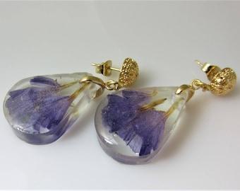 Purple Stasis, Real Flower Post  Earrings,   Pressed Flower Jewelry, Resin (2072)