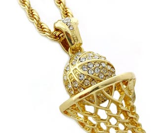 Basketball pendant etsy iced out basketball hoop pendant necklace with 24 rope chain mozeypictures Images