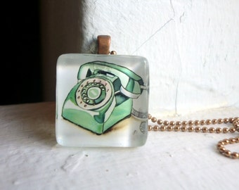 Vintage Rotary Phone Necklace, Glass Tile Pendant Necklace, Wearable Watercolor Art