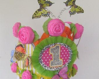 Butterfly Birthday hat, Butterfly Birthday Crown  butterflies, 1st Birthday hat, Garden part crown, customize