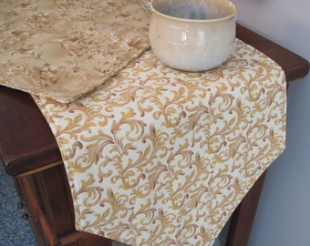"Tan Lily Table Runner 54""-72"" Reversible Light Brown Table Runner Lily Runner Neutral Table runner Tan Scroll Runner Neutral Tone Runner"