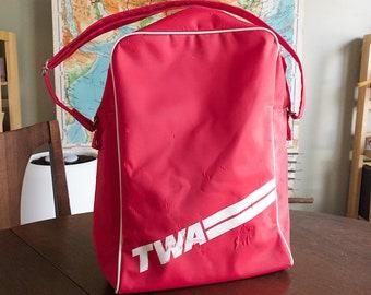Vintage Red Nylon TWA Tote Bag