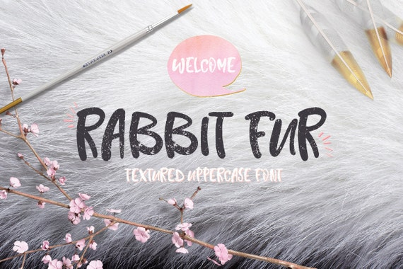 Digital Font Rabbit Fur - Digital Typeface - Hand drawn font - Instant Download