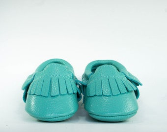 Genuine Leather Teal Baby Moccasin
