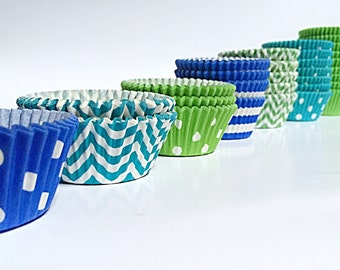 Aqua Blue, Green, Royal Blue Cupcake Liners | 100 Colorful Paper liner | Polka Dot, Solid, Striped Greaseproof Cake | Boys Party Baking Cups
