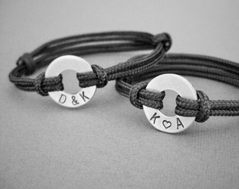 Couples, matching stamped bracelets, 2 Bracelets, Small Aluminum Disk with Stamped initials and adjustable Paraline cord, his and hers, Set