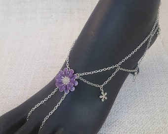 Purple Flower Barefoot Sandals with Owl Charm (9.5-11)