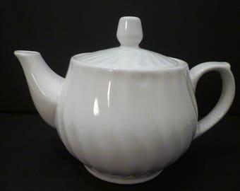 TEAPOT. VINTAGE ENGLISH Solid White Teapot. Swirl Design Small Size Teapot. 14 ounce Teapot.