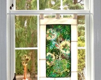 The Jade Vase ~ Bleached Art Batik Pojagi Patchwork Window Treatment ~ boho dorm ~ bohemian ~ shabby chic ~cafe ~ boudoir curtain