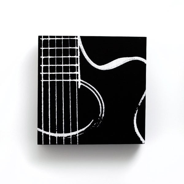 Music Wall Art Acoustic Guitar On Wood Black And White 6 X
