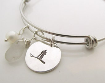 Lighthouse Bracelet- Sea Glass  bracelet - hand stamped jewelry - custom jewelry - Lake Erie Beach Glass Jewelry