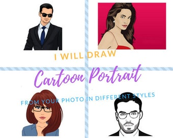 I will draw cartoon Portrait or Illustration from your photo   Selfie illustration   Avatar creation