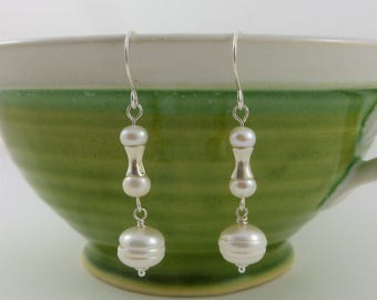 Freshwater pearls, pearl and silver drop earrings, white freshwater pearls, gift for women, large freshwater pearl drop, Boho style earrings