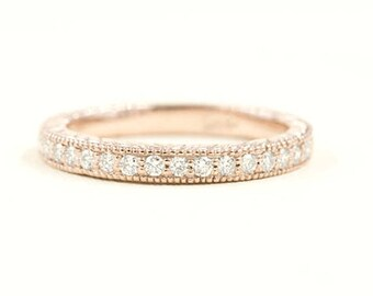 Half Eternity Diamond Wedding Band, Art Deco Ring Accented with Engraving, 0.23ct. Diamond/14K Solid Gold, Diamond Band,Diamond Wedding Ring