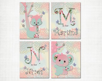 Twins nursery wall art girl room decor custom baby name kids decoration siblings artwork coala fox initial poster pink mint turquoise
