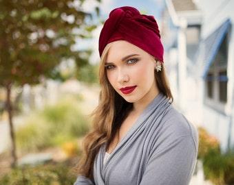 Turban Diva Red Velvet Turban, Head Wrap, Chemo Hat, Alopecia Scarf, Hat & Scarf Set 505-01