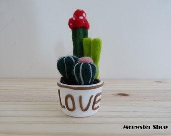 Needle Felted Cactus in Plasticine Pot