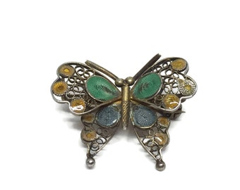 1940s Plique-à-Jour Butterfly Brooch 800 Silver Gold Plated, Insect Jewelry, Butterfly Pin, Vintage Jewelry, Vintage Brooch, Gift for Mom