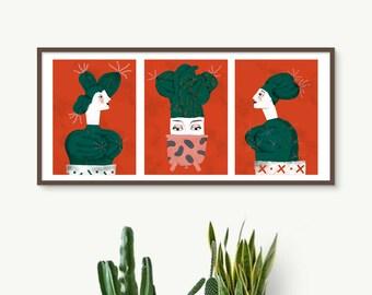 Triptych Cactus women, Cactus prints, Cactus woman illustration for decor wall, cactus plants prints, cactus illustrations, woman portraits