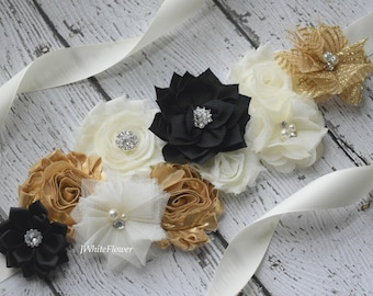 Gold ivory black sash, flower Belt, maternity sash, wedding sash, flower girl sash, maternity sash belt